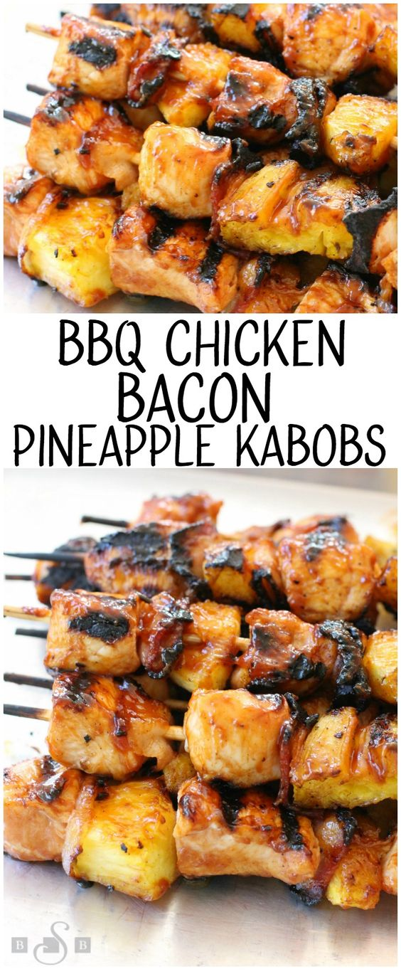 BBQ Chicken Kabobs with Bacon and Pineapple recipe with tender chicken grilled with pineapple and bacon then slathered with your favorite BBQ sauce. These are the ultimate BBQ chicken kabobs and are perfect for your next cookout!