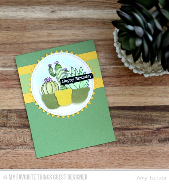 Birthday Succulents Card by Amy Tsuruta featuring the Laina Lamb Design Sweet Succulents stamp set and Die-namics and the Cross-Stitch Circle STAX #mftstamps