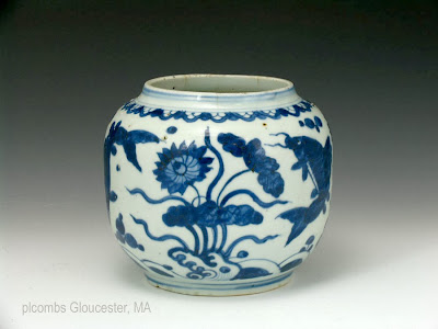 "<img src=""Chinese Ming fish jar.jpg"" alt=""blue and white porcelain jar with fish"">"