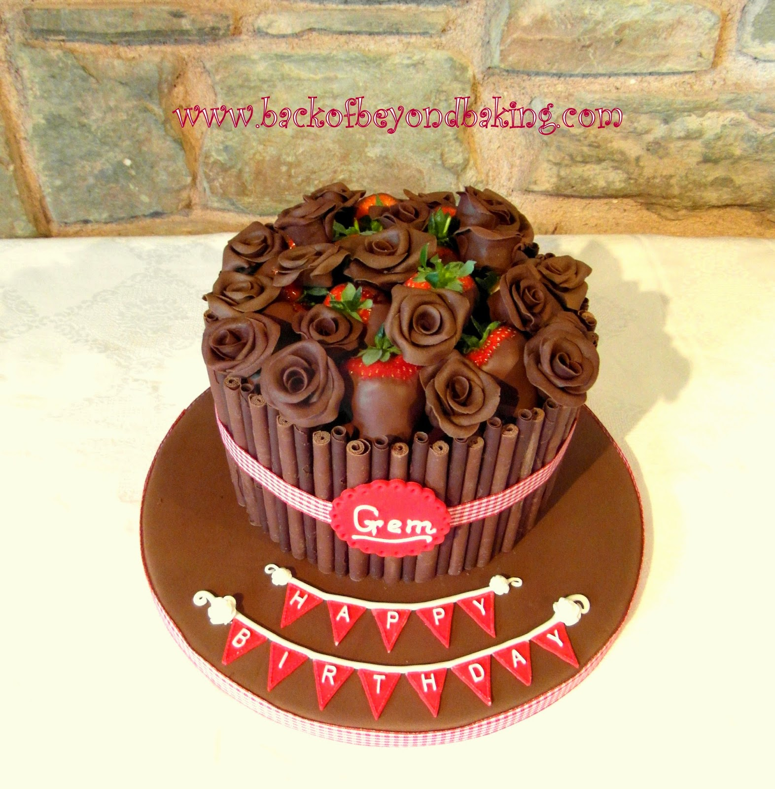 Chocolate cigarello birthday cake