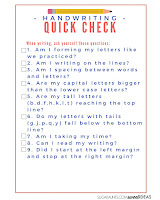 Handwriting self-assessment quick check list