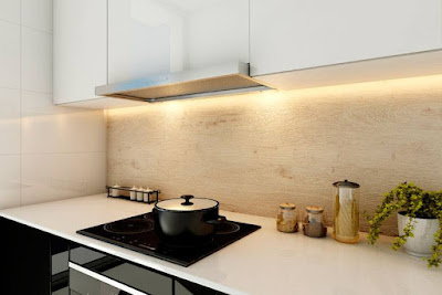 Bahan Backsplash Kitchen Set - Aica Cerarl Motif Kayu