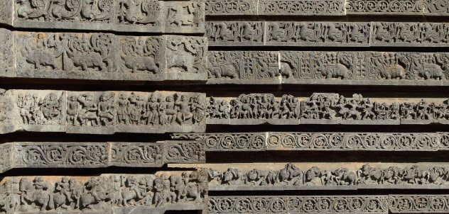 Detailed sculptured depicting stories from Hindu Mythology on the walls of the Hoysaleswara temple, Halebid