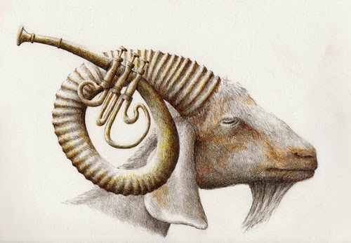 13-Goat-Horn-Redmer-Hoekstra-Surreal-Animals-Ink-Drawings-www-designstack-co