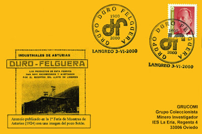 Tarjeta del matasellos dedicado al Centenario de Duro Felguera en Langreo