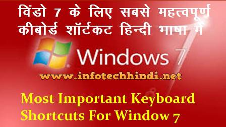 Most Important Keyboard Shortcuts For Window 7