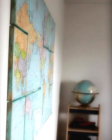 map decoupage on canvas