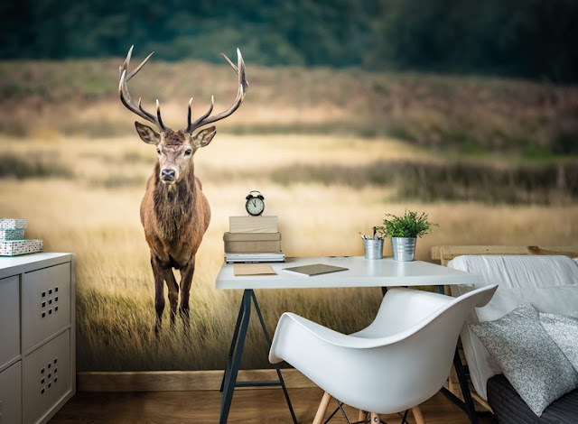 A stag wall mural