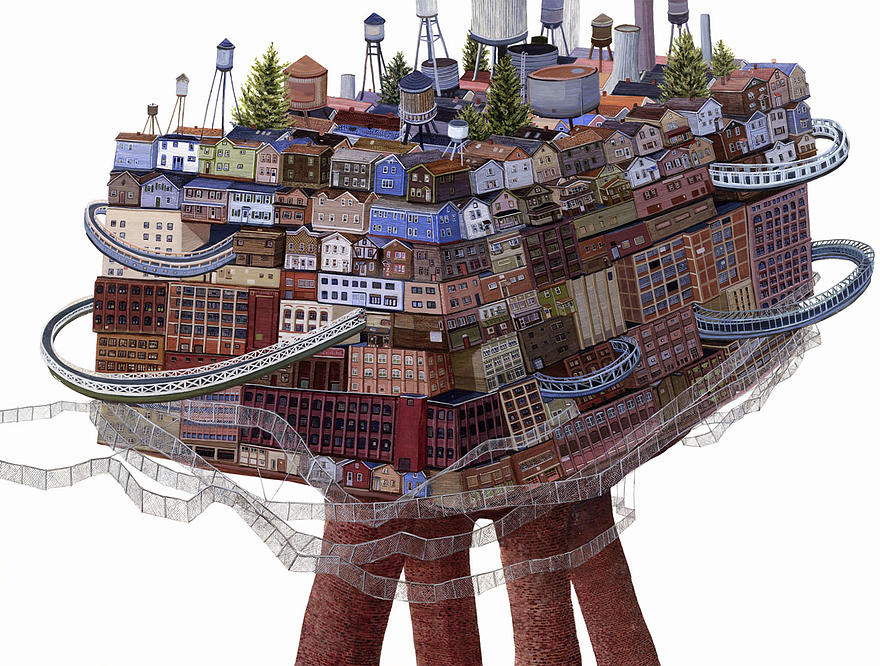 05-Consolidation-Amy-Casey-Fantastical-Architectural-Paintings-of-Real-Life-Buildings-www-designstack-co