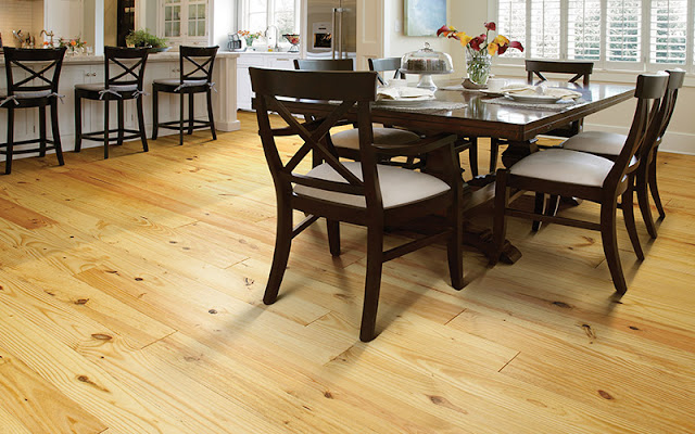 Light colored hardwood lets natural qualities of the wood shine through