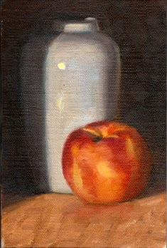 Oil painting of a white peach beside a white vase, partially obscured by shadow.