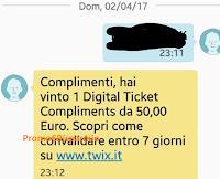 Logo Vinci anche tu con Twix 2 buoni Ticketone da 25 euro !