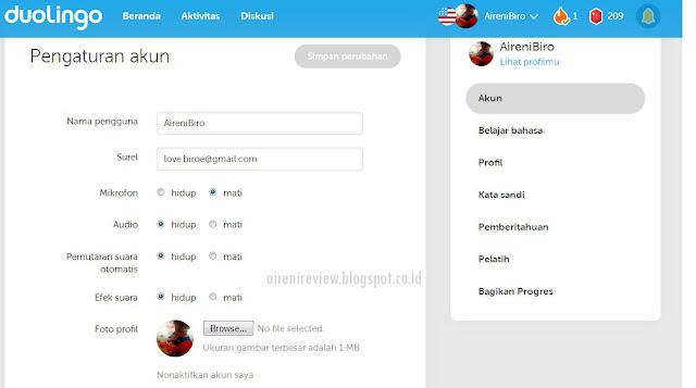 Dulingo App pengaturan akun