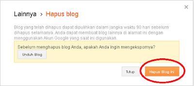 Cara Mudah Menghapus Blog di Blogger