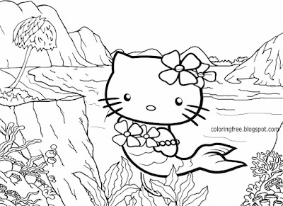 Hot tropical sea beach coastline mermaid Hello kitty coloring page cute printables for teenage girls