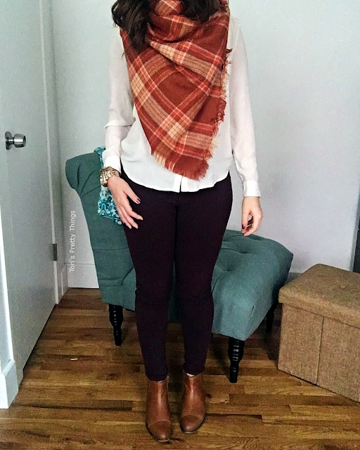 Tori's Pretty Things // Orange Blanket Scarf and Purple Jeans