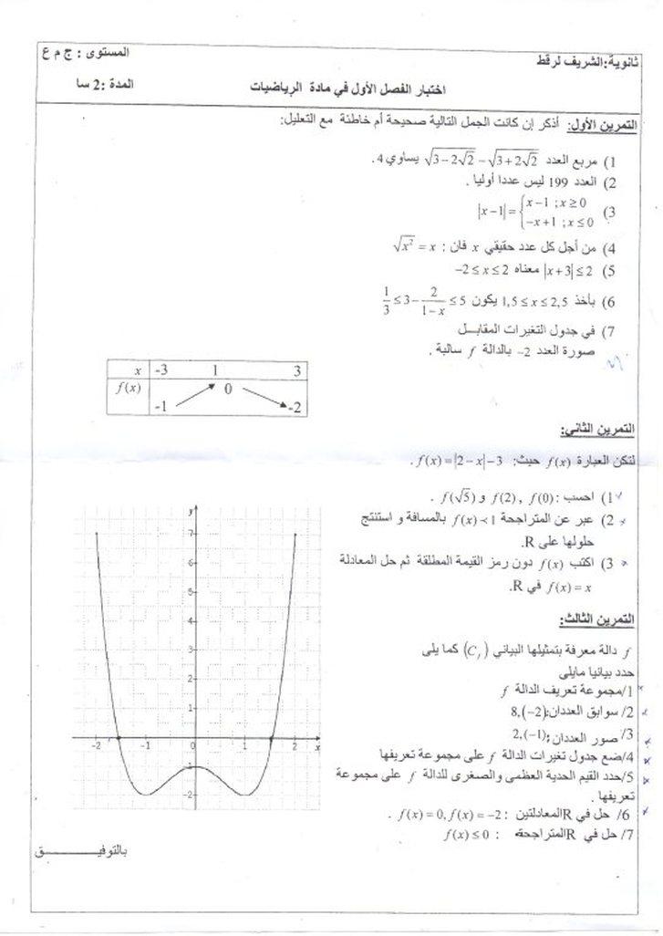 الاختبار الأول في مادة الرياضيات للسنة الأولى ثانوي جذع مشترك علوم وتكنولوجيا