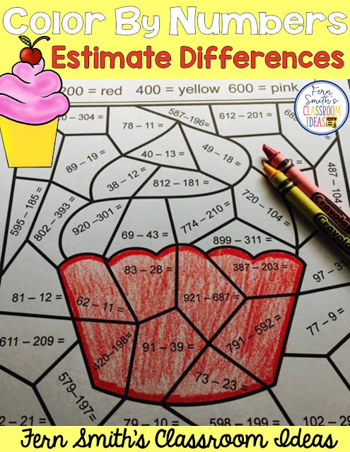FERN'S FREEBIE FRIDAY ~ ROUNDING TO ESTIMATE DIFFERENCES COLOR BY NUMBERS