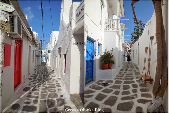 puste greckie uliczki z kolorowymi okiennicami Grecja Mykonos
