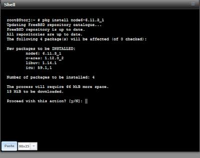 Installing node6 LTS using pkg install