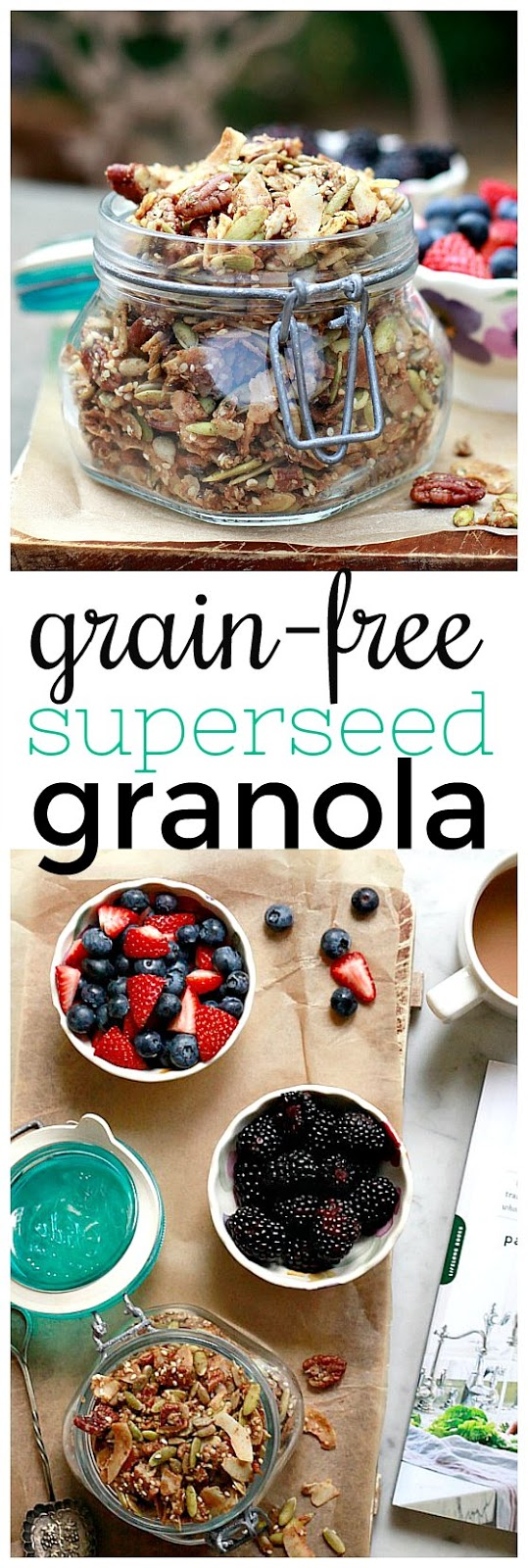 This easy grain-free granola recipe is loaded with seeds, nuts, and coconut and makes a delicious and healthful vegan, paleo breakfast or snack. It's also a great DIY edible gift idea.
