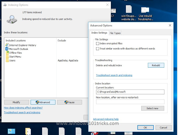 Rebuild the Windows Search Indexer in Windows 10