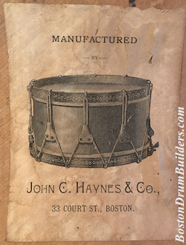 ca. 1880s John C. Haynes & Co. Drum Label
