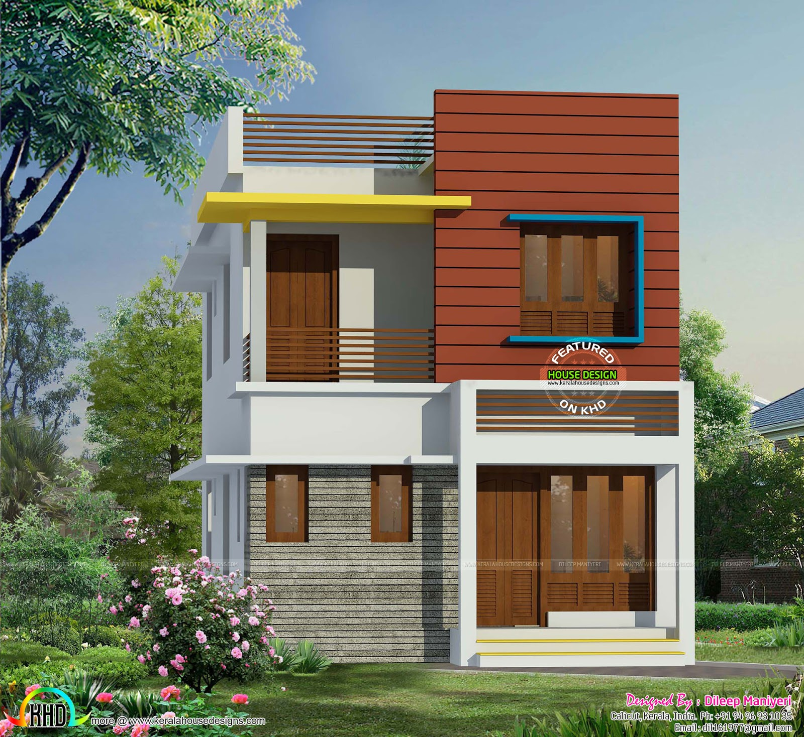 Very Small House Elevations : Sq ft contemporary small house kerala home design