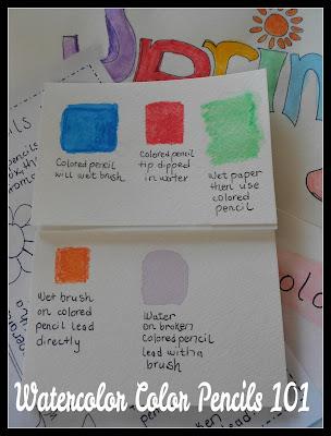Watercolor Pencils 101 tutorial video and printable