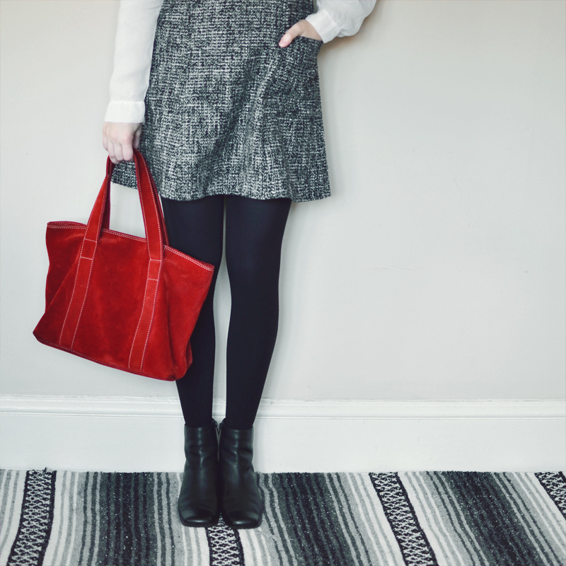 The Flying Clubhouse: Tweed | Red Suede Bag