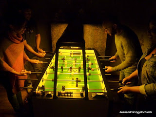 hotly contested foosball game