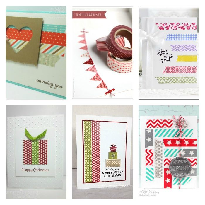 6 tarjetas navideñas decordas con washi-tape
