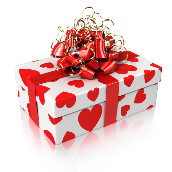 Gift wrapped with hearts