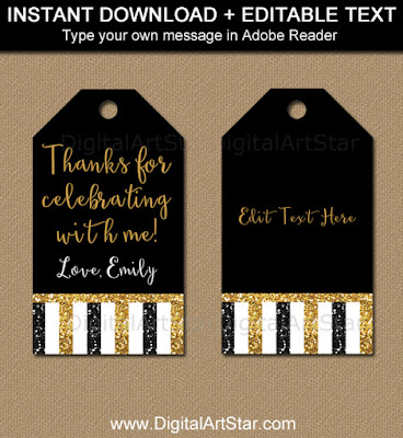 50th birthday party favor tags - black and gold glitter