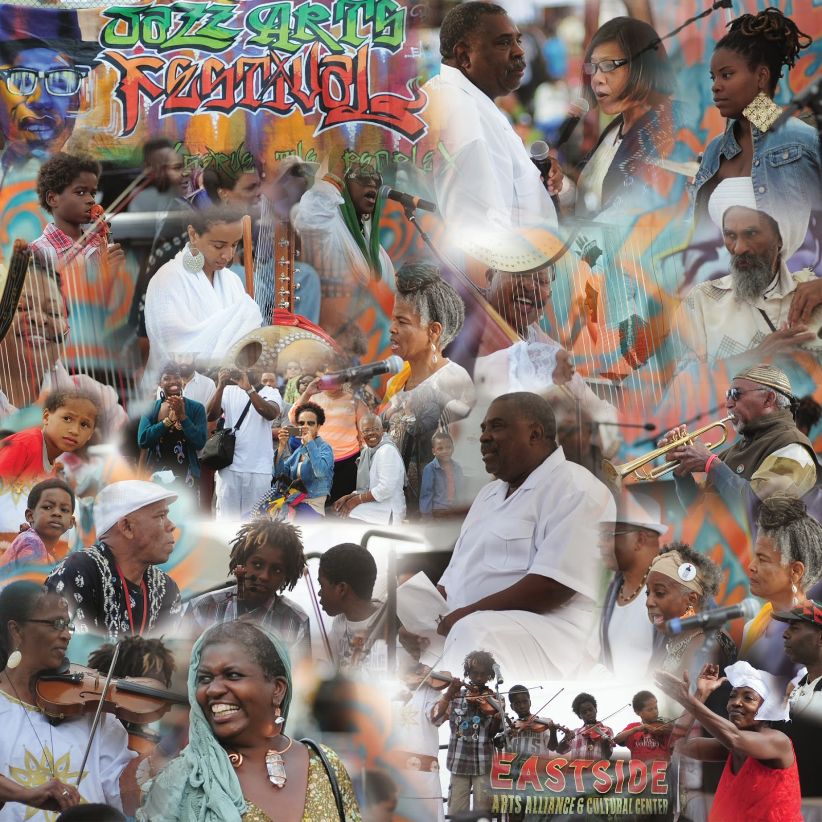 Adam Turner Collage of Marvin X and the Black Arts Movement Poets Choir and  Arkestra at Malcolm X Jazz/Arts Festival