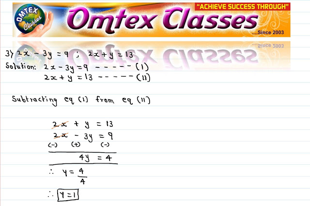 Solve the following simultaneous equations. 2x - 3y = 9; 2x + y = 13