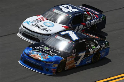 Justin Allgaier (#7 Breyers 2in1 Chevrolet) and Kyle Larson (#42 DC Solar Chevrolet) #NASCAR #MENCS