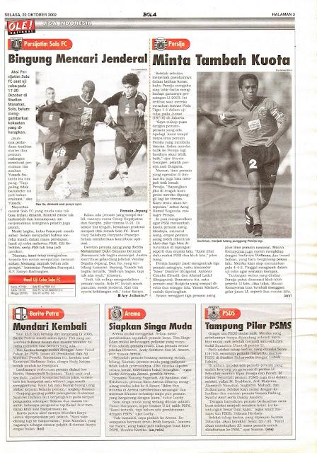 LIGA INDONESIA PERSIJATIM SOLO FC BINGUNG MENCARI JENDERAL