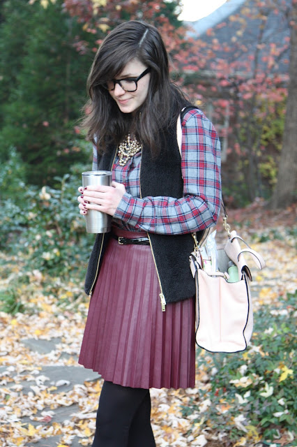 plaid, fur, leather, pink, burgundy