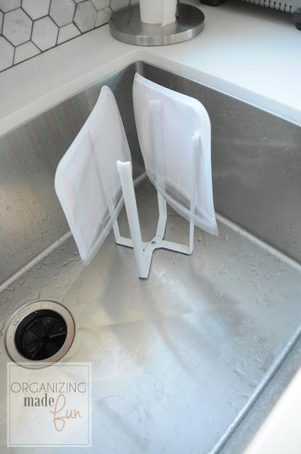 Drying reusable bags on drying rack