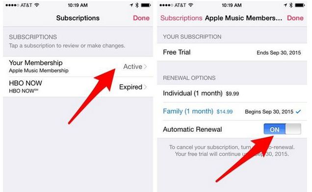 apple music renewal disabled