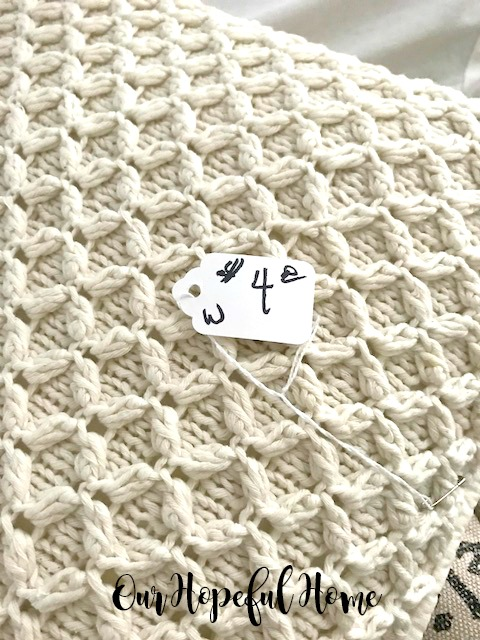 price tag estate sale cable knit pillow