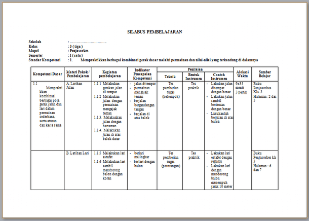 Silabus PJOK Revisi 2017 SD Kelas 3 Kurikulum 2013