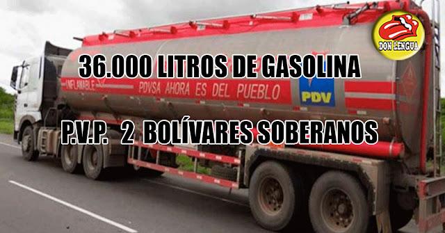 Con un billete de 2 Bolívares puedes comprar 36.000 litros de gasolina
