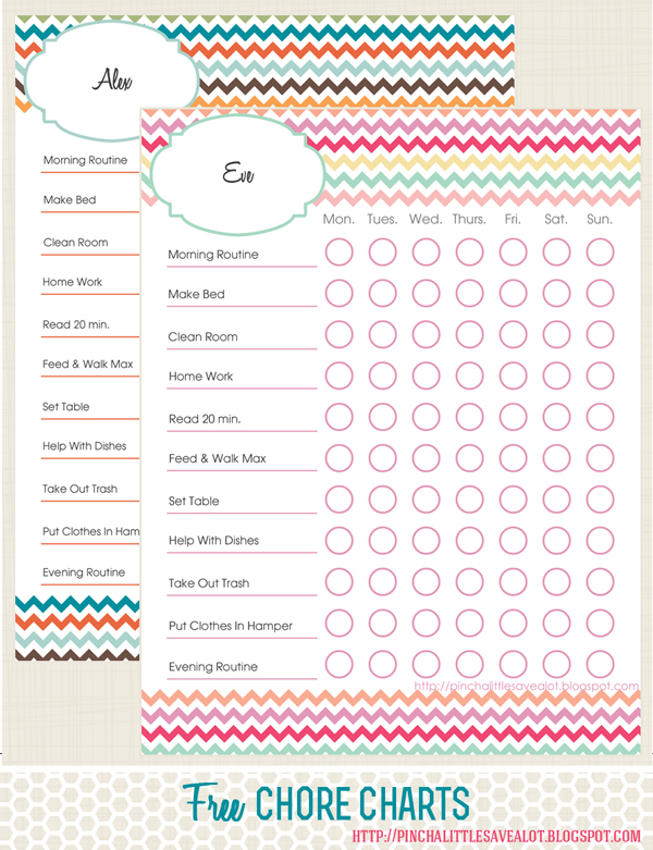 Pinch A Little Save-A-Lot Free Kids Chore Charts - sample chore chart