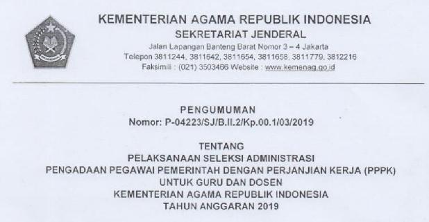 Jadwal Seleksi Administrasi akan dilakanakan  SELEKSI PPPK (P3K) KEMENAG DILANJUTKAN, SELEKSI ADMINISTRASI AKAN DILAKANAKAN 8 – 28 MARET 2019