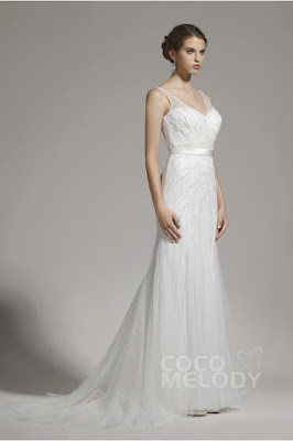 http://www.cocomelody.com/new-arrival-sheath-column-v-neck-tulle-ivory-sleeveless-wedding-dress-with-beading-awzt15002.html