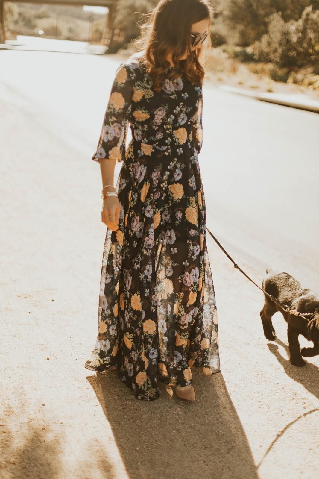 classy floral maxi dress