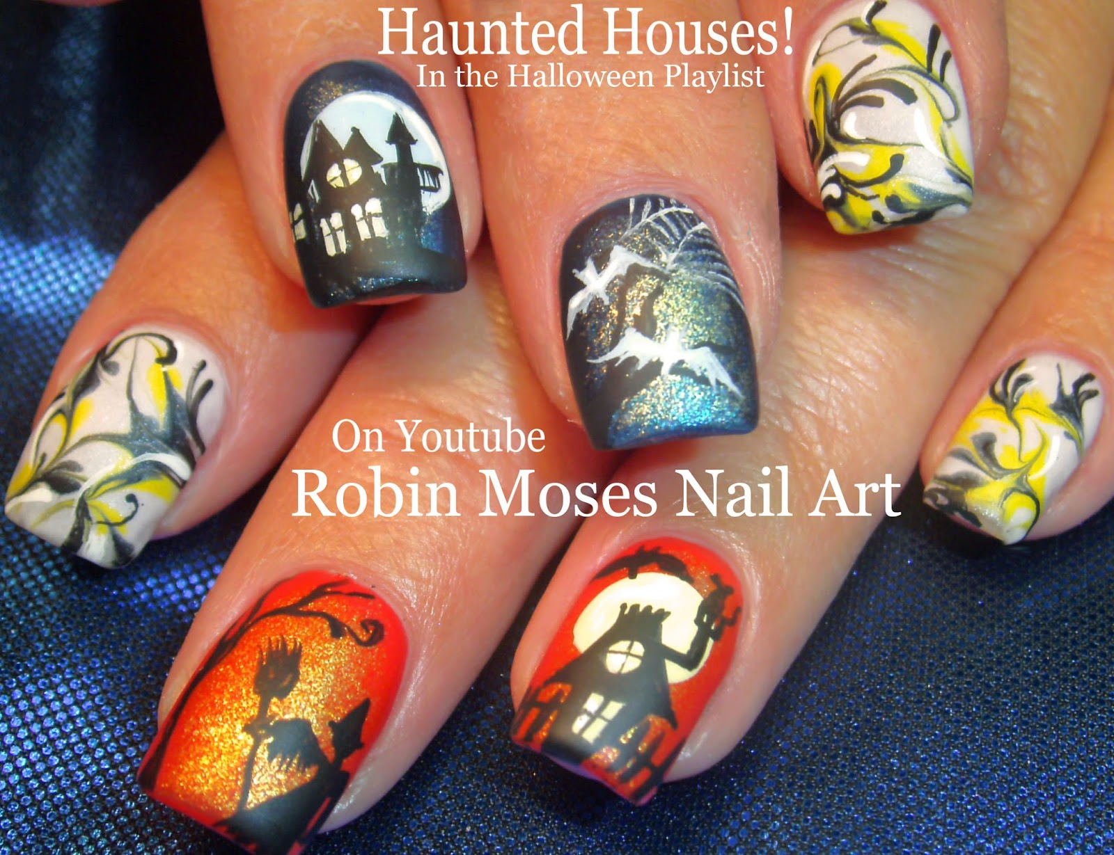 Nail Art By Robin Moses Haunted House Nail Art Cute Halloween