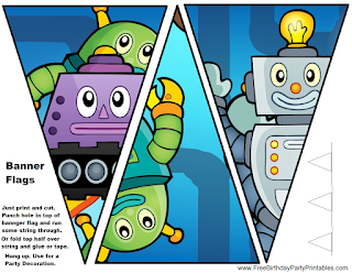 Free Robot Birthday Party Printables- Flag Bunting Banners